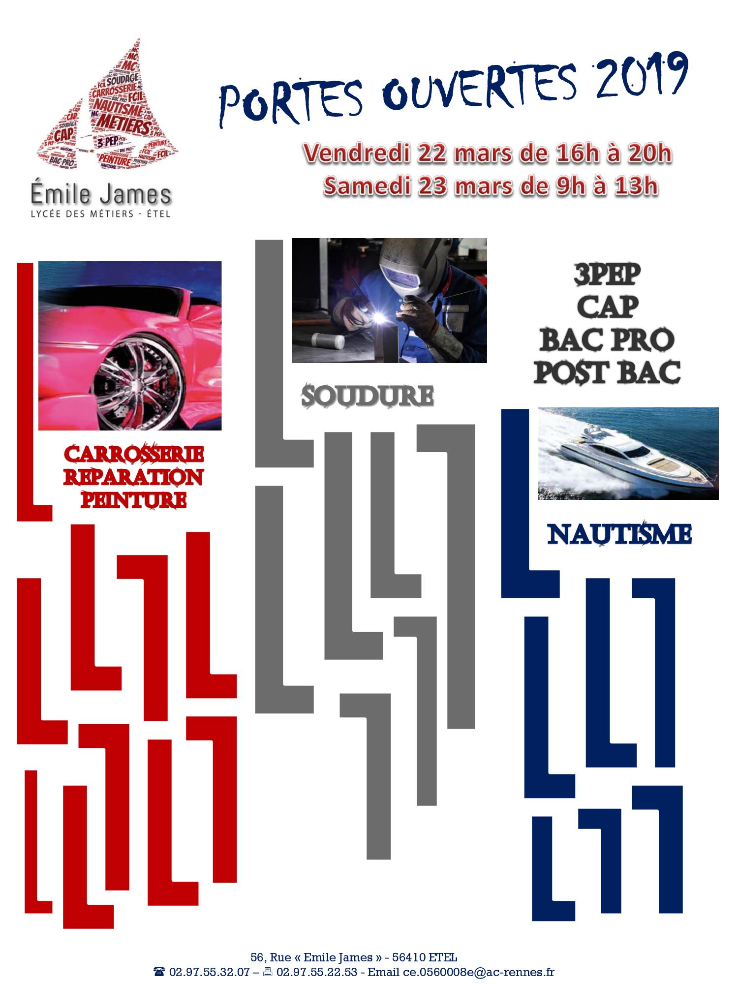 Affiche Portes Ouvertes 2019 Lycée Professionnel Emile James Etel